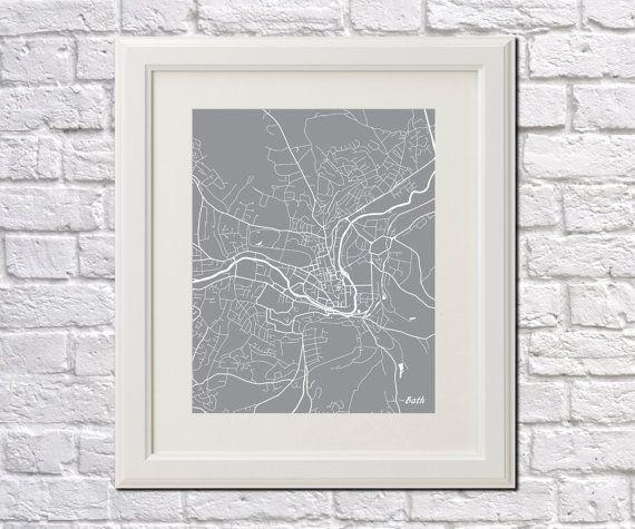 Bath Street Map Print Map of Bath City Street Map by ArtPrints4All