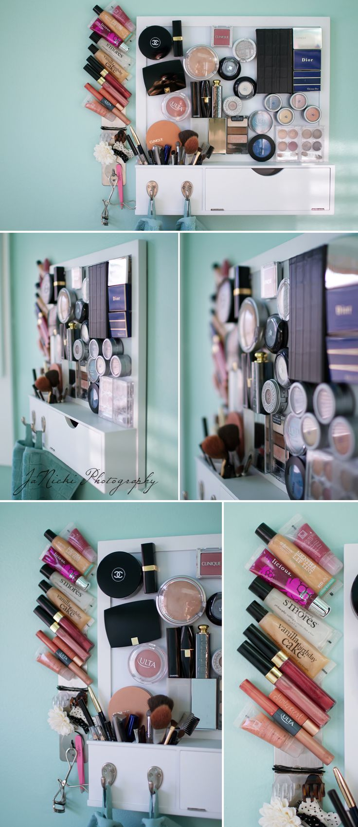 magnetic makeup board. i wonder if this would work with magnetic paint