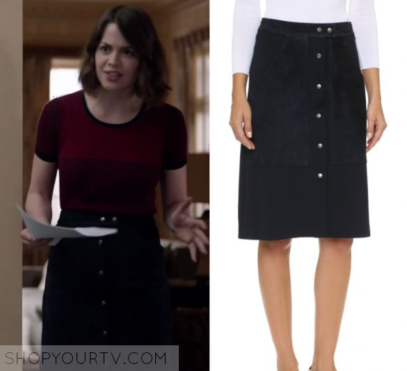 """Shots Fired: Season 1 Episode 9 Sarah's Button Front Midi Skirt   Shop Your TV by Kirsty0 Comments  Sarah Ellis (Conor Leslie) wears this navy blue button front, pocket front midi skirt in this episode of Shots Fired, """"Hour Nine: Come on Jesus"""".  It is the Theory Slyn Skirt."""