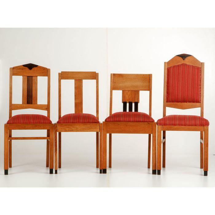 Hedendaags 4 Diverse Amsterdamse School stoelen met coromandel sierwerk LH-82