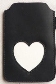 MELZ leren telefoonhoesje - Zwart met wit hart
