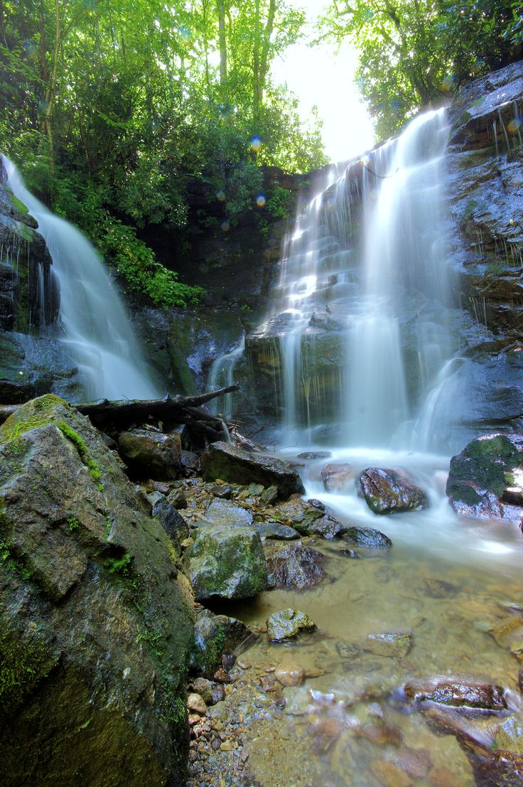 Soco Falls near the Great Smoky Mountains, a twin waterfall just 1.5 miles from the Blue Ridge Parkway near Cherokee and Maggie Valley! Guide at http://www.romanticasheville.com/soco_falls.htm