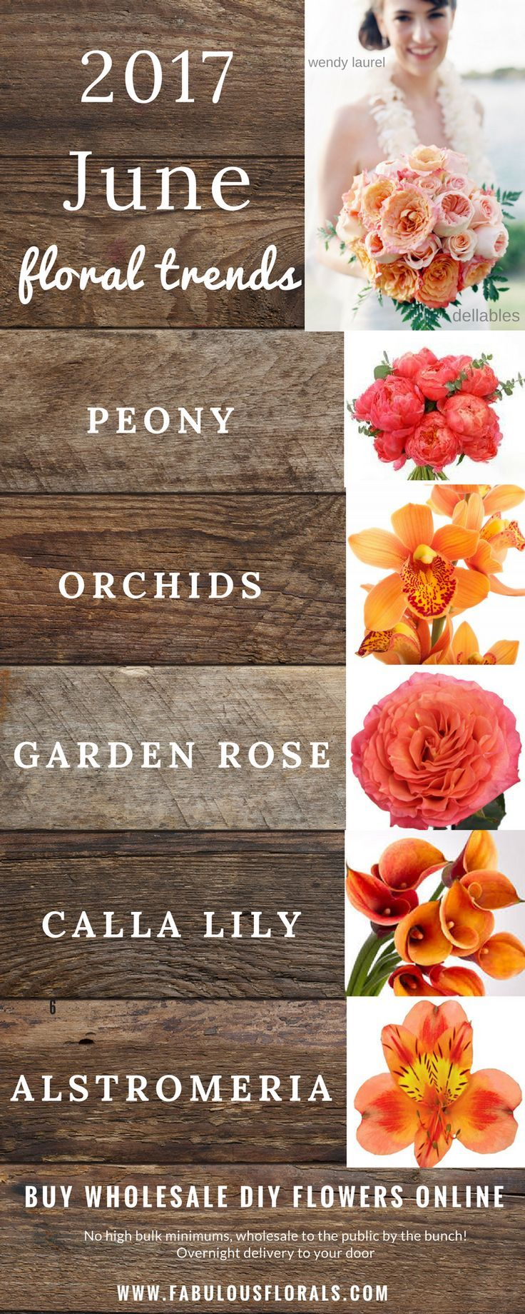2017 flower trends! www.fabulousflorals.com The #1 source for wholesale DIY wedding flowers! #springflowers #diyflowers #diywedding #seasonalflowers #juneflowers