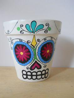 Day of the Dead sugar skull Flower Pot Planter Halloween Dia de los Muertos outdoor halloween decor Made to Order on Etsy, $28.00