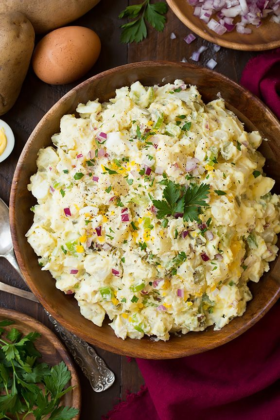 Since I recently shared this other fancier Garlic-Herb Potato Salad recipe I decided I may as well share my favorite classic potato salad recipe while I'm