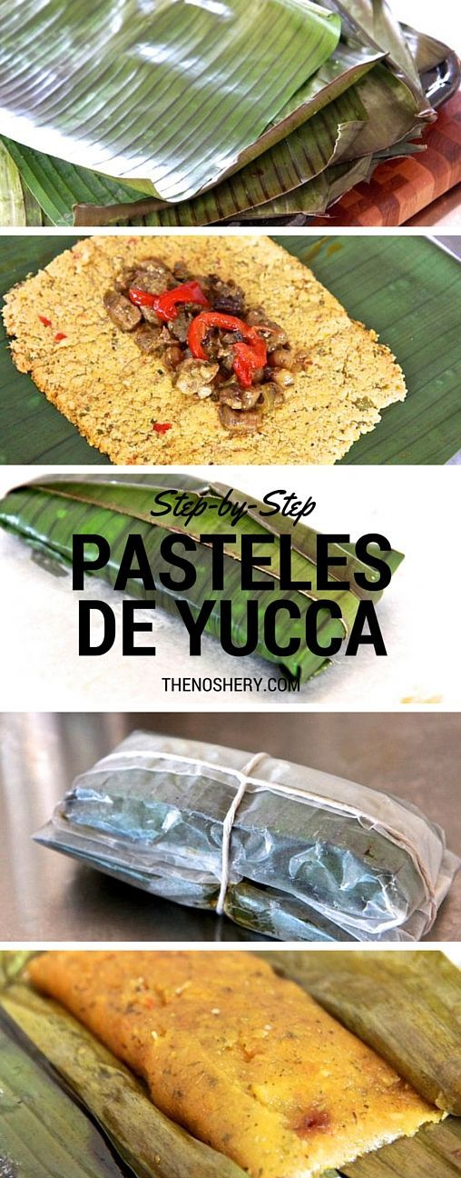 Pasteles de Yucca (Puerto Rican Tamales)  For when I feel like making something Tricky                                                                                                                                                                                 More