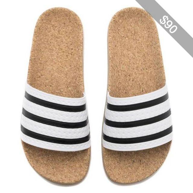 New WOMENS Adidas ADILETTE CORK Slides Sandals White Brown Flip Flops BA7210 q1