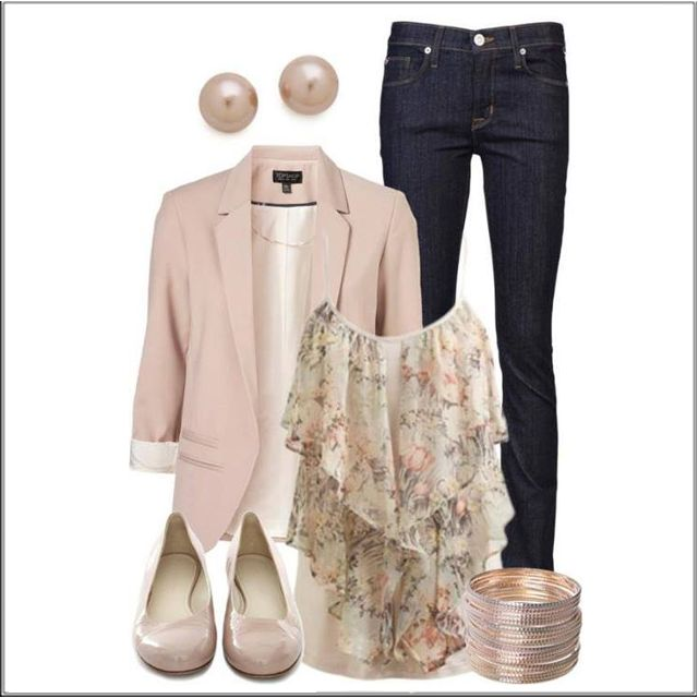 CHATA'S DAILY TIP!: Frothy layers in dusty pink teamed with a structured nude jacket transforms denim into a super chic casual/smart outfit. Dress it up another notch by replacing the nude ballet pumps with nude strappy heels (or gold strappy heels) and a glamorous bag. Lots of bracelets works for long arms; if you have short arms opt for one or two bracelets. COPY CREDIT: Marlise du Plessis http://chataromano.com/consultant/marlise-duplessis/ IMAGE CREDIT: Beauty & Fashion's Facebook page