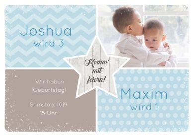 Süße Einladungskarte mit Foto in Pastellfarben für kleine Brüder zum Doppelgeburtstag  #Geschwister #Fotokarten#birthday #Geburtstag#Einladung  #einladunggeburtstag.de