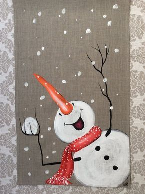 Snowmen table runner Hand-painted Christmas Winter…