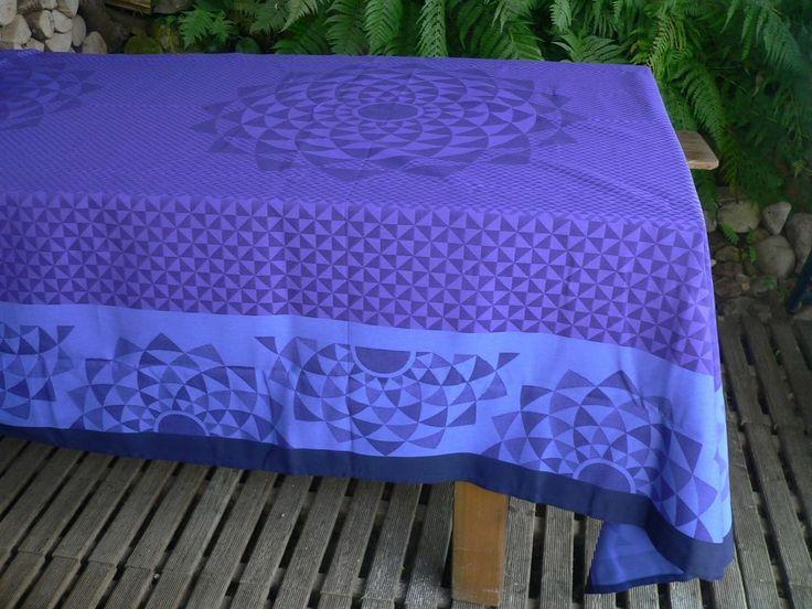 """Le Jacquard Francais tablecloth VIBRATION 69""""X 126"""" BLUE NIGHT #lejacquardfrancais"""