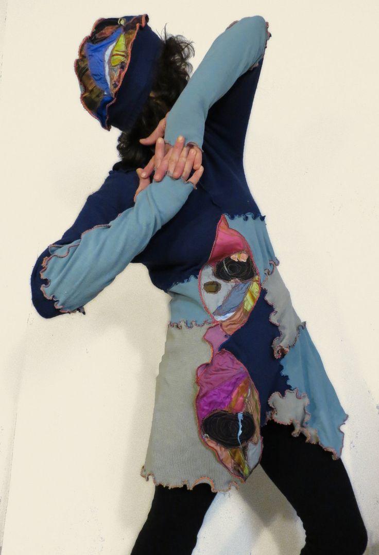 upcycled abito,abito donna, mini abito,manica lunga,vestito fanky,abito maglia,abito cotone,vestito donna primaverile,abito turchese bluette di decorandom su Etsy