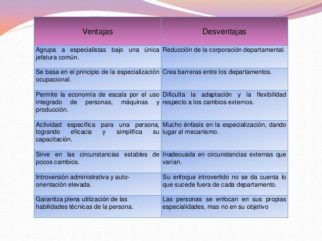 ventajas y desventajas de departamentalizacion por funciones.