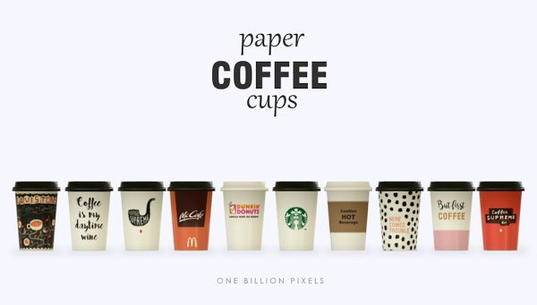 Paper Coffee Cups (The Sims 4) - One Billion Pixels