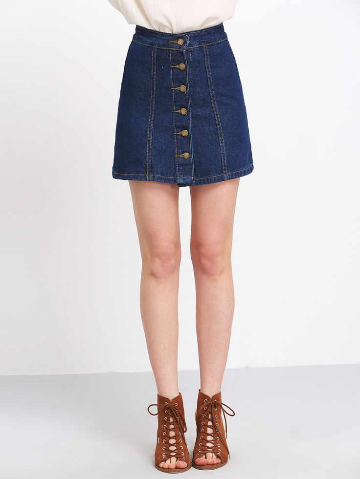 Shop Blue Buttons A Line Denim Skirt online. SheIn offers Blue Buttons A Line Denim Skirt $14