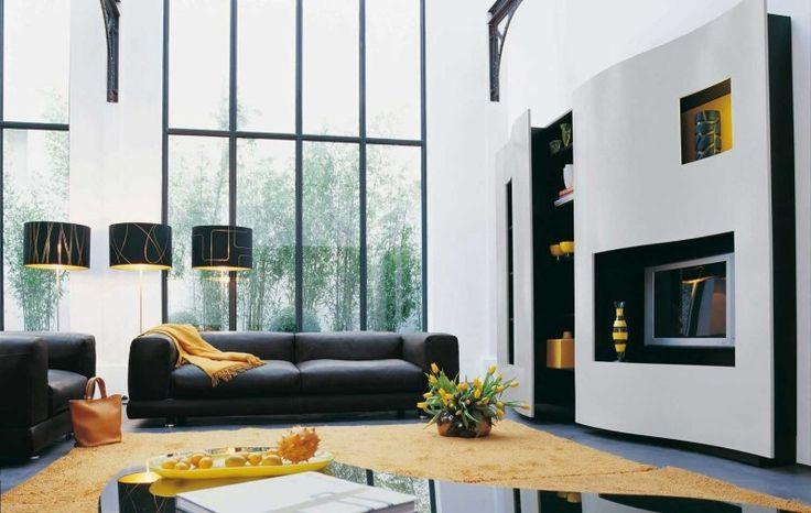 Modernes Wohnzimmer in Grau/Weiß/Gelb