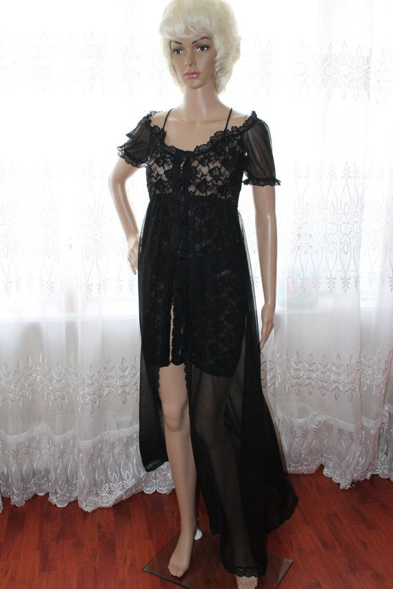 Прозрачный черный пеньюар с двойной юбкой от LaceAmyr на Etsy, $198.00