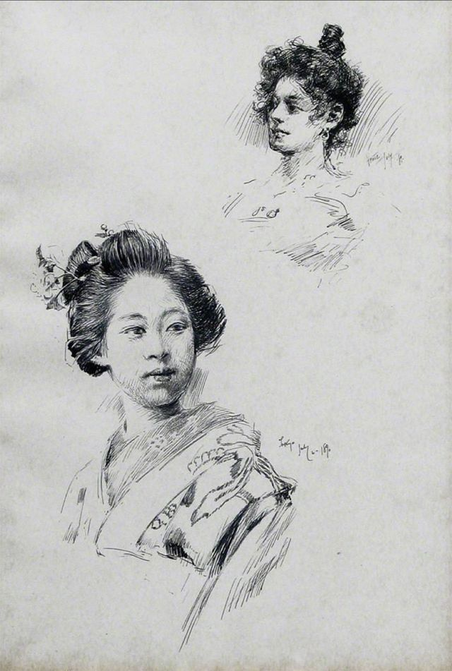 This picture was painted by Robert Frederick Blum who is American painter in the 19th.He was impressed with Japanese when got an invitation to Centennial Exposition 1876.Fourteen years later,he got an invitation to the domestic industrial exposition held at Ueno,Japan in 1890.He had painted Japanese scene for three years.