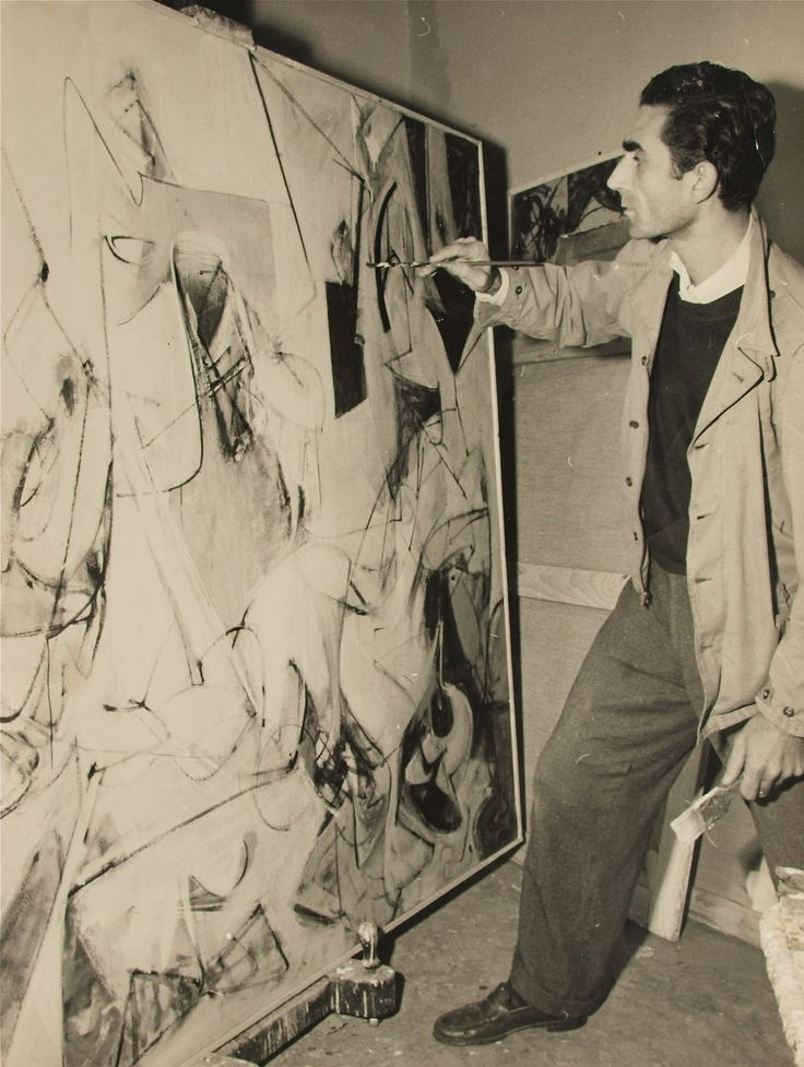 Chilean born abstract expressionist artist Roberto Sebastián Antonio (1911–2002), painting in his Rome artist studio #workspace, 1950. #arthist