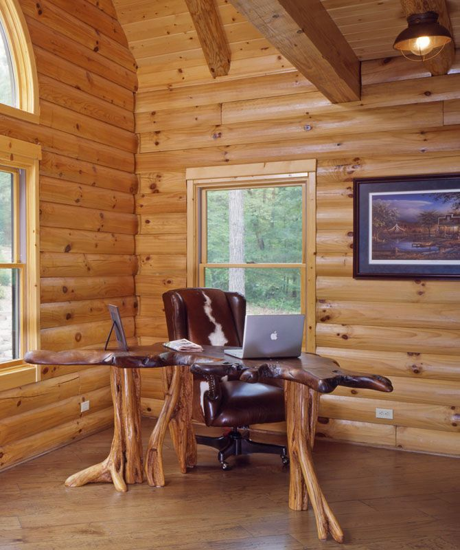 Rustic Home Office Design With Unique Wood Desk