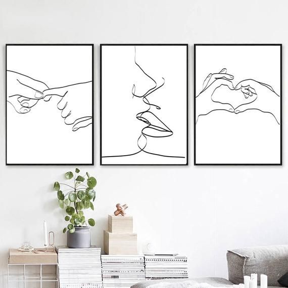 Heart Hands Kiss Art Set of 3 Prints Digital Download Romantic Wall Art Couple Print Love Sketch Line Drawing Holding Hands Woman Room Decor – Baylie Grijalva