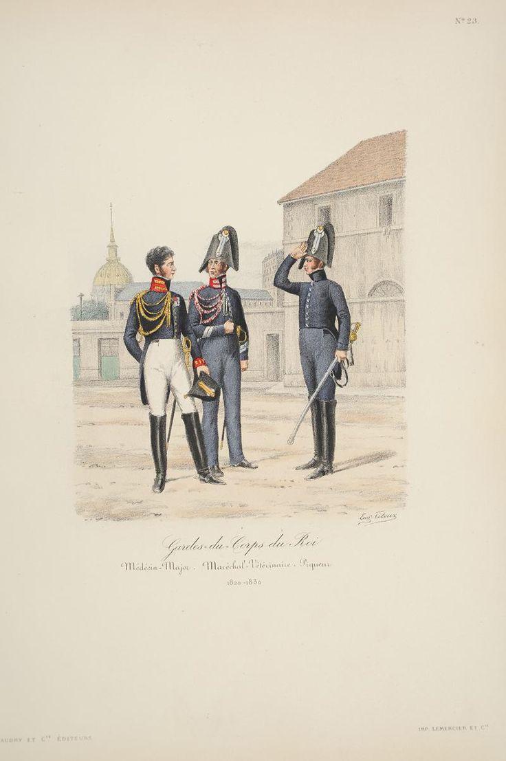 Gardes-du-Corps du Roi - Médecin-Major Maréchal-Vétérinaire. Piqueur. 1820-1830