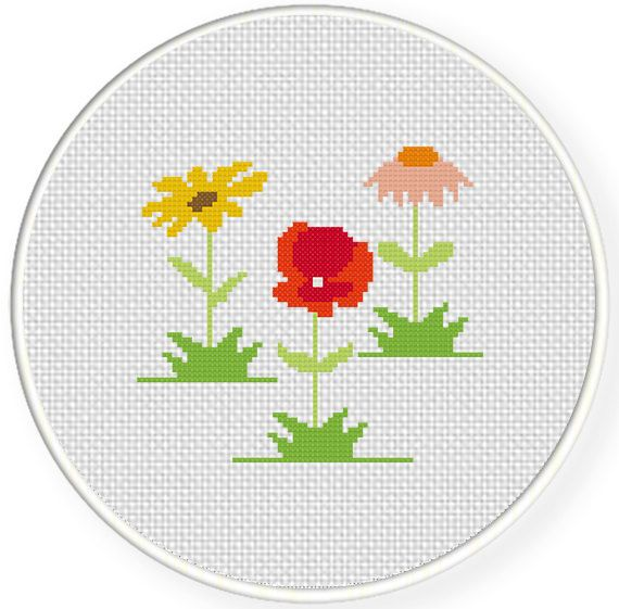 Charts Club Members Only: Country Flowers Cross Stitch Pattern
