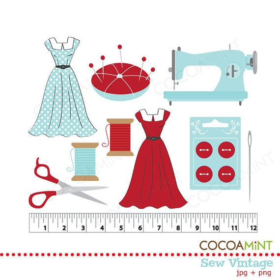 Sew Vintage Clip Art by cocoamint on Etsy