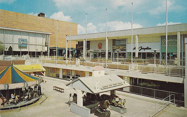Bergen Mall Paramus NJ -1968 -- Now THIS was a mall! Vaguely remember the rides and later on there was the Village Square under the mall that had tiny antique and collectibles shops galore. Stern's was a fave department store. This mall is unrecognizable nowadays...completely homogenized!