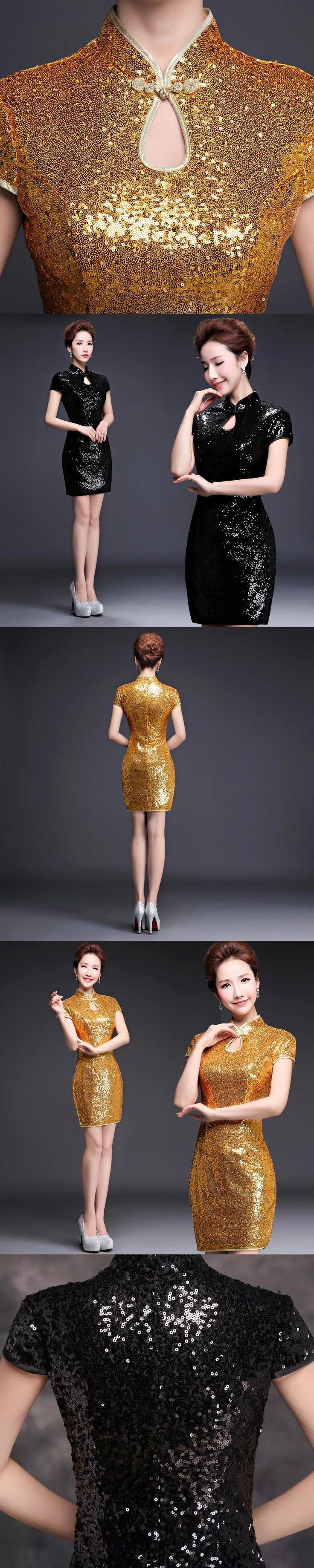 lady short golden sequin formal dinner party chinese cheongsam dresses summer size customized plus size xxxl elegant