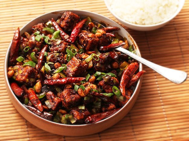 Hot, tingly, and packed with chunks of crispy tofu, peanuts, and celery, this is a meat-free version of the classic Sichuan dish.