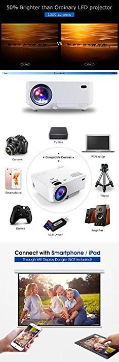 Laptop Mini Projector. DBPOWER T20 1500 Lumens LCD Mini Projector, Multimedia Home Theater Video Projector Support 1080P HDMI USB SD Card VGA AV for Home Cinema TV Laptop Game iPhone Andriod Smartphone with Free HDMI Cable.  #laptop #mini #projector #laptopmini #miniprojector