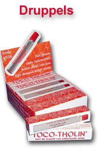 TOCO-THOLIN druppels: pepermuntolie, eucalyptus-, steranijs-, petitgrain-, lavendel, rozemarijn-, kruidnagelolie en menthol.