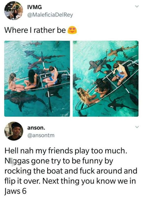 Swim with sharks- on my bucket list. That's so terrifying but it would be a great story. (The swimming with sharks part, not the jaws part lol)