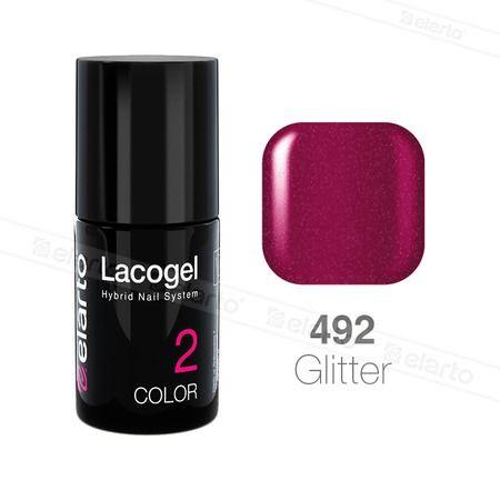 Lakier hybrydowy Lacogel nr 492 - rubinowy brokat 7ml #elarto #lacogel #rubinowy #brokat