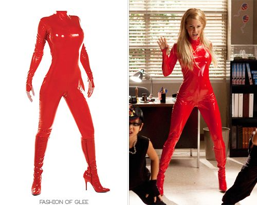"""""""Where [Brittany's] in the red pleather suit with the boys dressed as little hoodlums, that particular scene I was proud of because our in-house tailor Sara made the costume,"""" said Lou Eyrich back in 2011. """"[Heather] just walked into it and zipped up and looked like a million bucks.""""Only a few days left in the Glee auction now - it's your last chance to buy a slice of Gleecostume history!Custom Britney Spears Replica Red Latex Bodysuit - Starting from $100.00Worn with: Pleaser boots"""