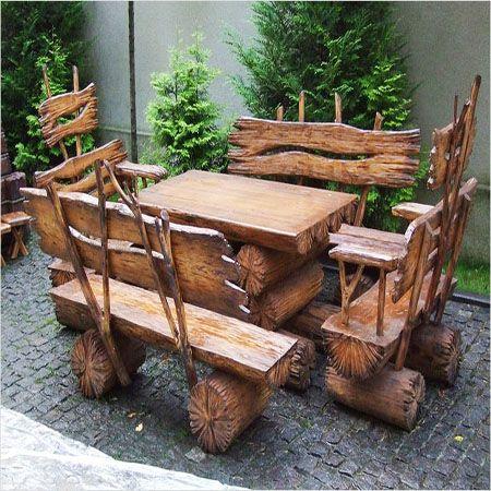 садовая мебель из дерева - стол и скамейки