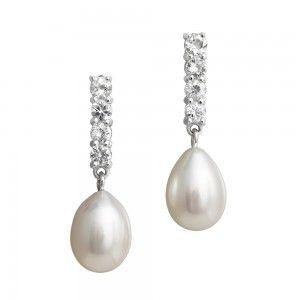 pendientes de perlas y diamantes para novias