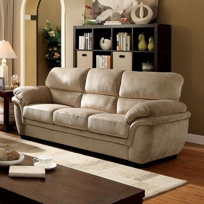 Benzara Jaya Light Brown Microfiber Transitional-style Sofa (Velvet)