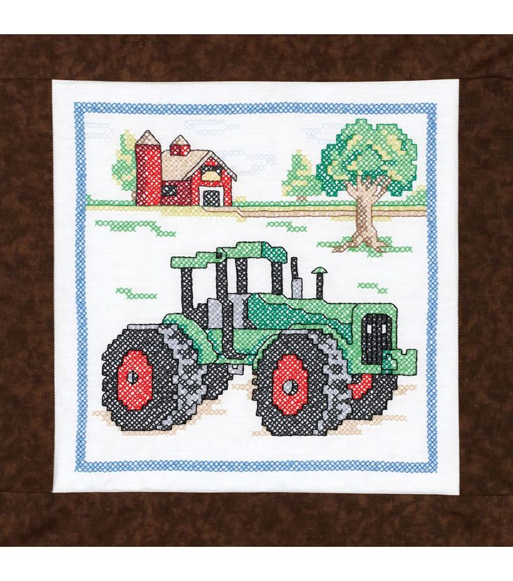 Janlynn Stamped Cross Stitch Quilt Blocks Tractor