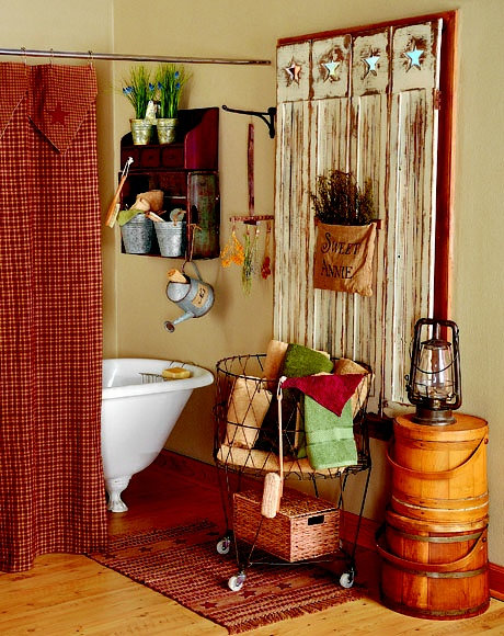 To add more storage space in the bathroom, hang an old wood crate below a wall shelf and outfit it with galvanized containers for stashing supplies. Find more great decorating secrets in every issue of Country Sampler. Order your subscription here: https://ssl.drgnetwork.com/ecom/csl/app/live/subscriptions?org=csl&publ=CS&key_code=EYJCS02&source=pinterest
