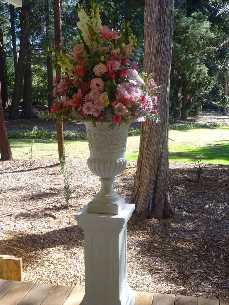 Ceremony flowers. Pink and white and Gabbinbar Homestead