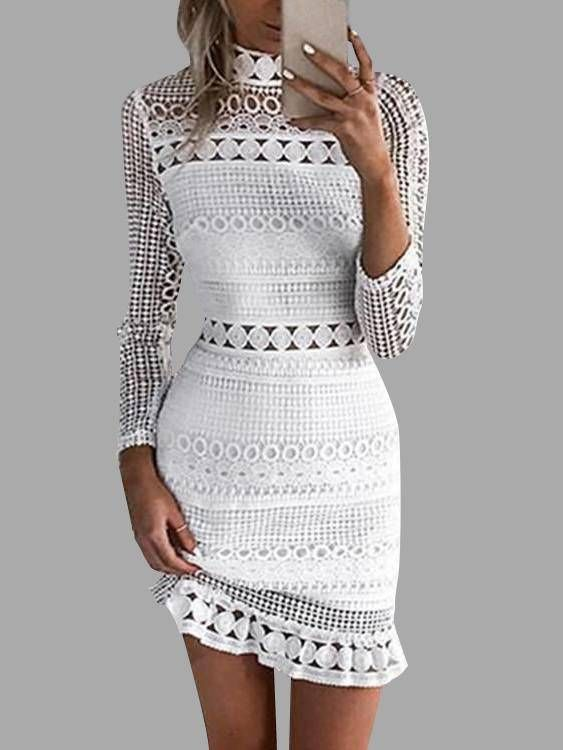 06f58c64fecc White Lace Cut Out Design High Neck Long Sleeves Dress | clothing ...