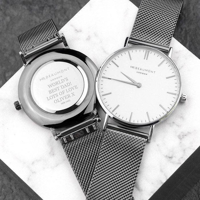 Personalised Men's Metallic Charcoal Grey Watch | GettingPersonal.co.uk