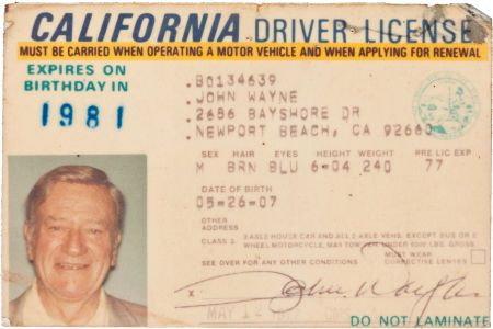 The Last Driver's License of John Wayne, 1977