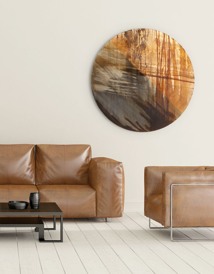 Large Circular Canvas Wall Art with copper tones. An original design from our collection of contemporary circular art. See our full collection on our 'Silver Wall Art' website. www.silverwallart.co.uk