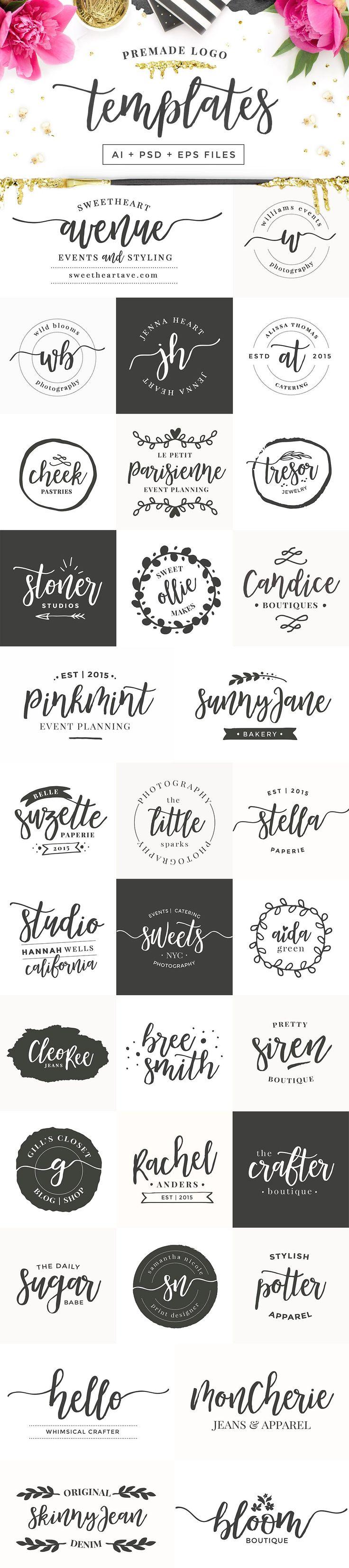 Mademoiselle LOGO KIT | Premade logo designs for Photoshop and Illustrator | Branding, blog design, patterns, watercolour, glitter, foil, brush script font