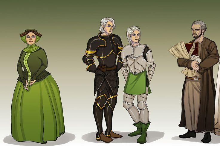 Königin Alicent mit ihren Söhen Aemond und Daeron Targaryen und Otto Hohenturm, die Hand des Königs.