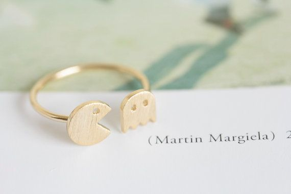pacman ring/unique ring/adjustable ring/knuckle ring/stretch ring/men ring/cool ring/couple ring/cute ring/fun ring/pac man ring