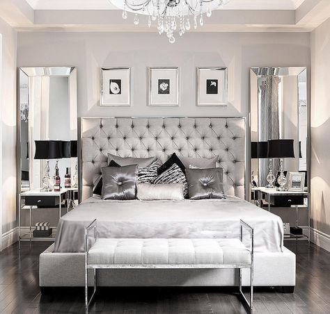silver and grey glamour bedroom love the vertical mirrors flanking the bed